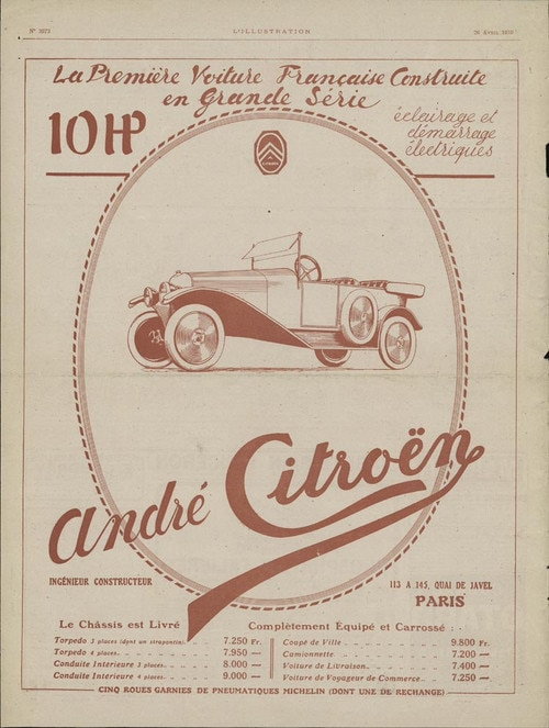Annonse for Citroën A Type